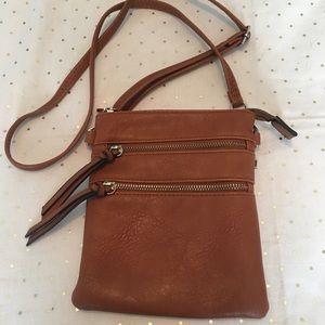 Handbags - Small tan faux leather crossbody bag